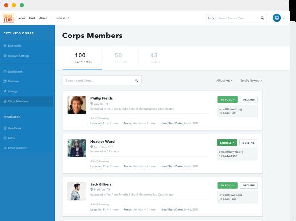 Sample Organization corps member dashboard